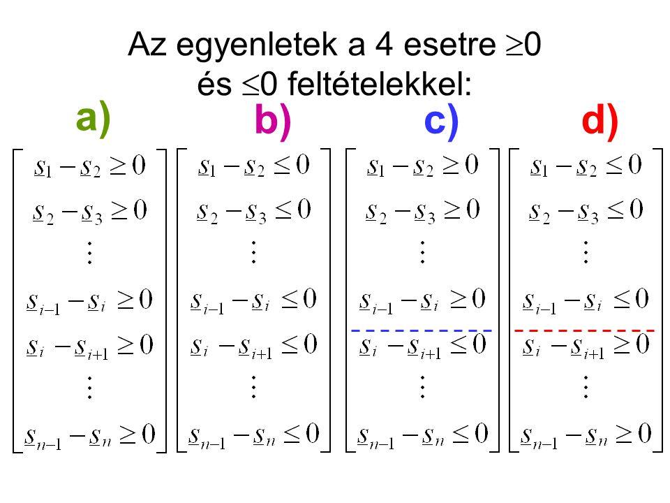 Az egyenletek a 4 esetre 0 és 0 feltételekkel: