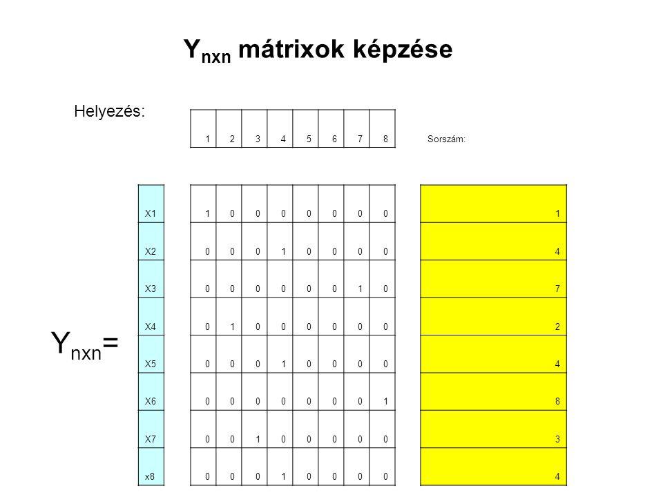 Ynxn= Ynxn mátrixok képzése Helyezés: 1 2 3 4 5 6 7 8 Sorszám: X1 X2