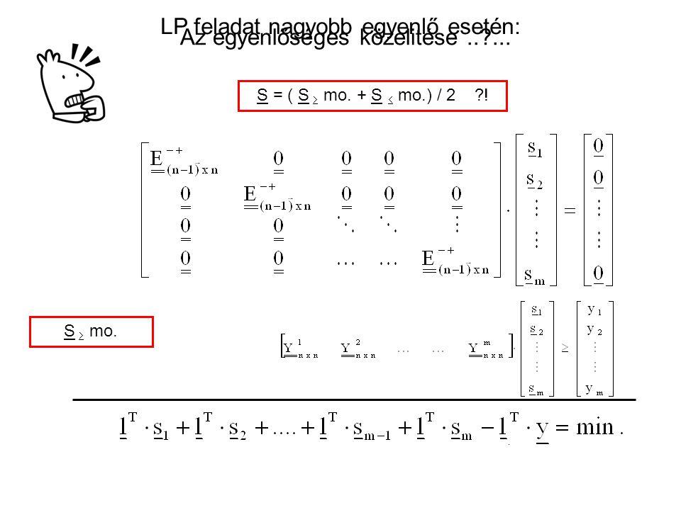 LP feladat nagyobb egyenlő esetén: Az egyenlőséges közelitése .. ...