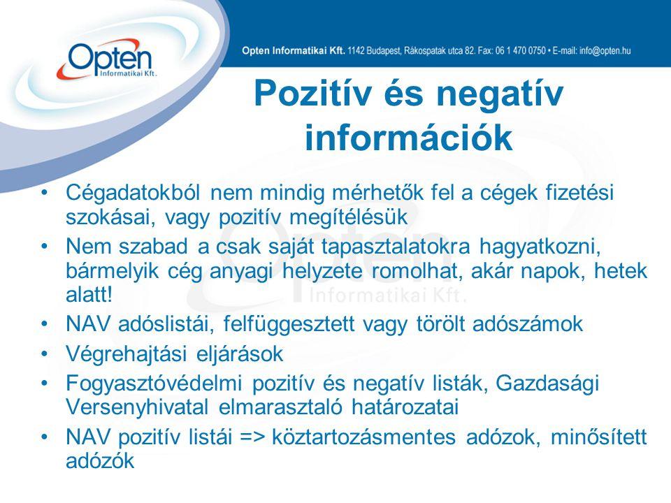 Pozitív és negatív információk