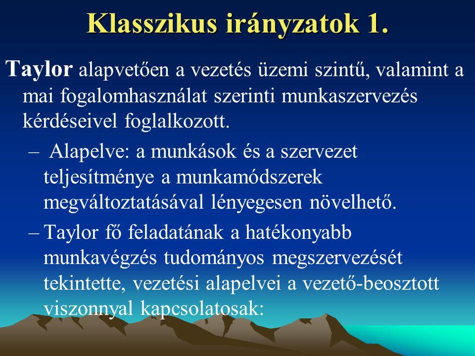 Klasszikus irányzatok 1.