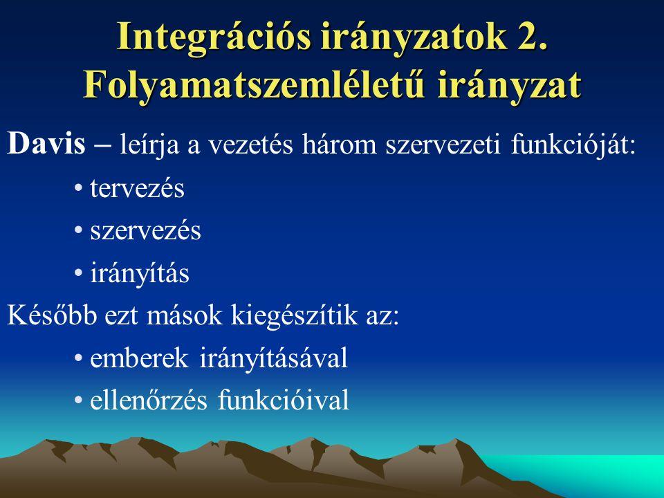 Integrációs irányzatok 2. Folyamatszemléletű irányzat