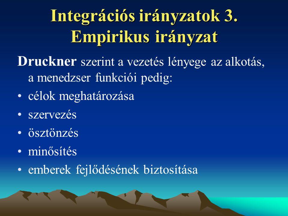Integrációs irányzatok 3. Empirikus irányzat