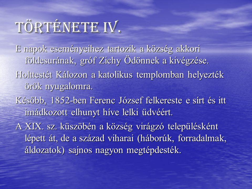 Története IV. E napok eseményeihez tartozik a község akkori földesurának, gróf Zichy Ödönnek a kivégzése.