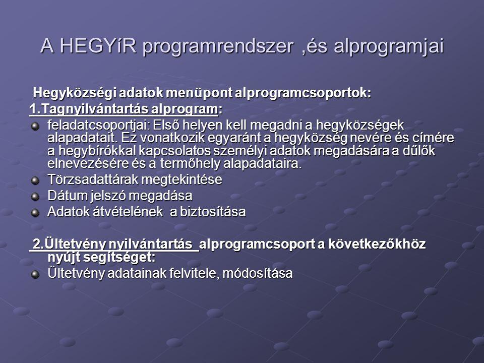 A HEGYíR programrendszer ,és alprogramjai