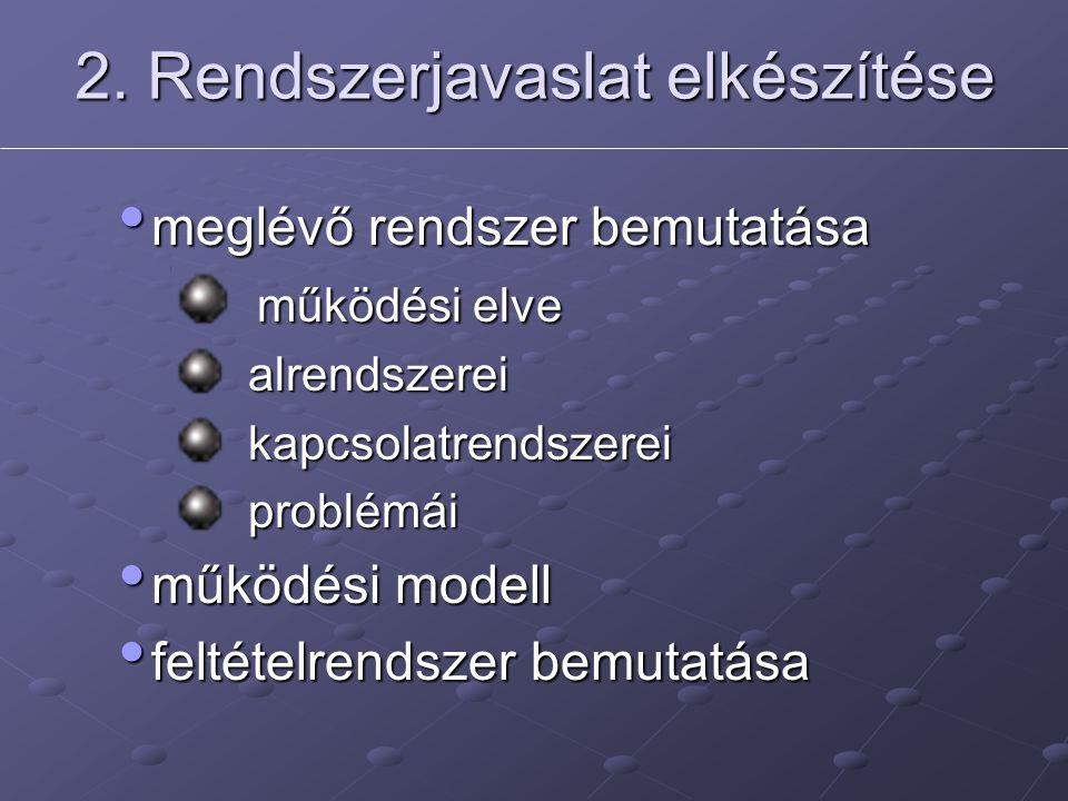 2. Rendszerjavaslat elkészítése