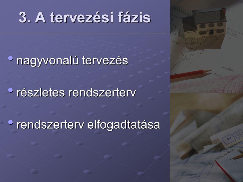 3. A tervezési fázis nagyvonalú tervezés részletes rendszerterv