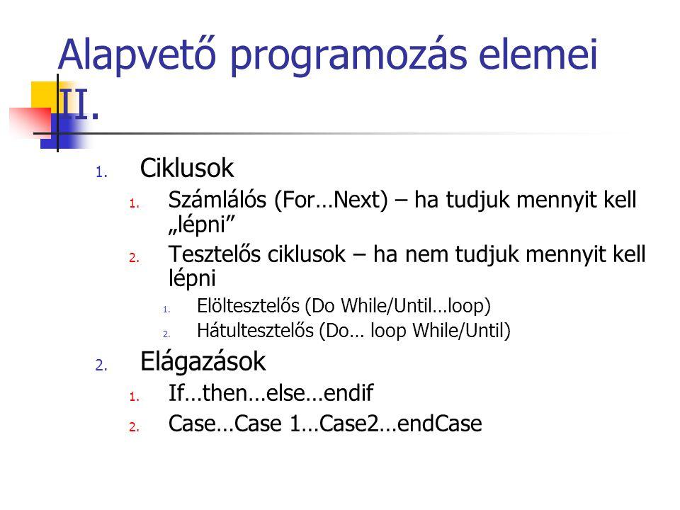 Alapvető programozás elemei II.