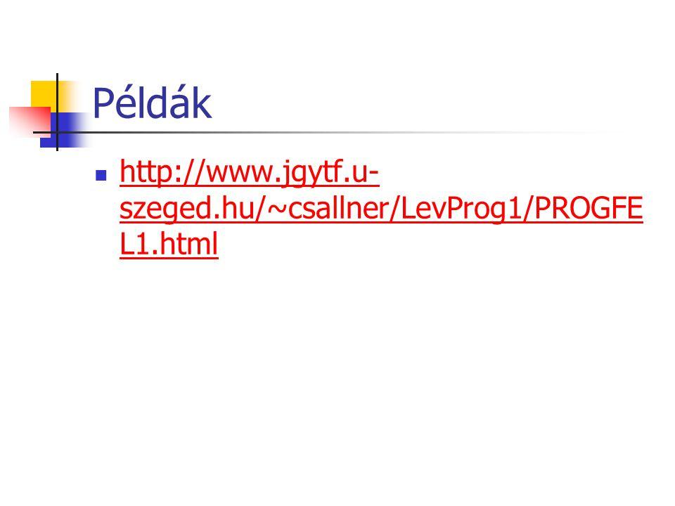 Példák http://www.jgytf.u-szeged.hu/~csallner/LevProg1/PROGFEL1.html