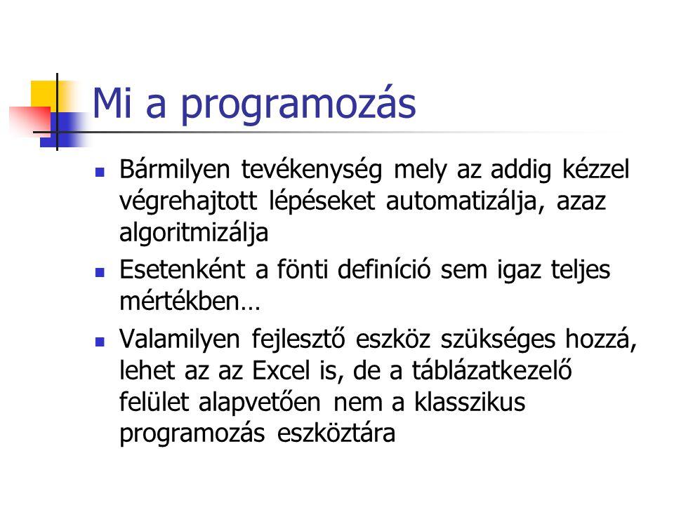 Mi a programozás Bármilyen tevékenység mely az addig kézzel végrehajtott lépéseket automatizálja, azaz algoritmizálja.