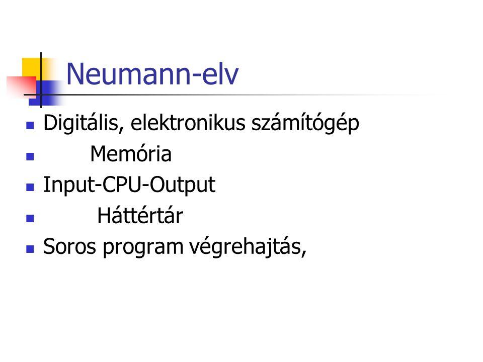 Neumann-elv Digitális, elektronikus számítógép Memória