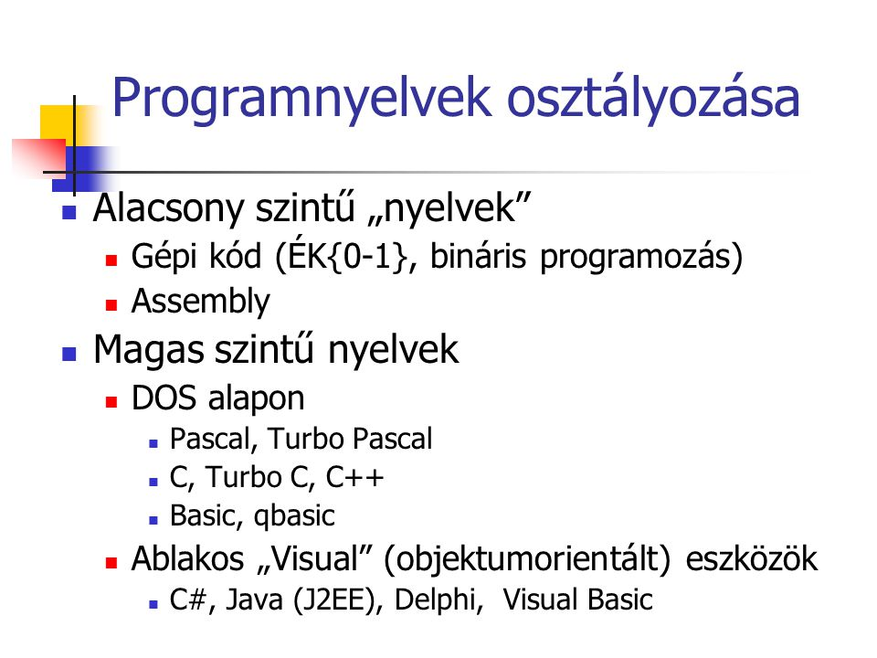 Programnyelvek osztályozása