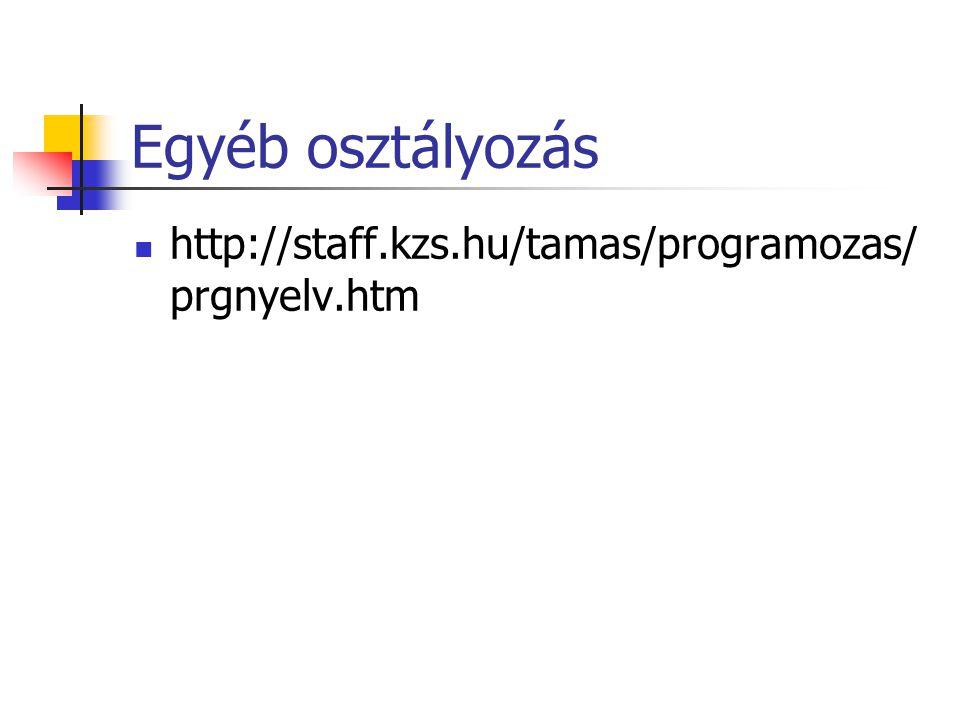 Egyéb osztályozás http://staff.kzs.hu/tamas/programozas/prgnyelv.htm