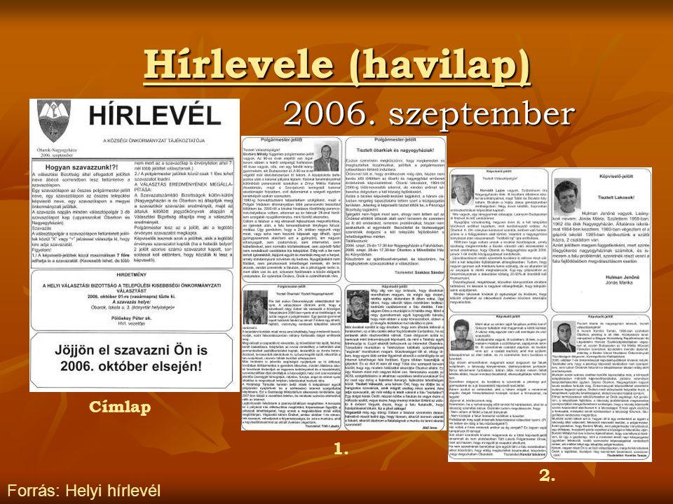 Hírlevele (havilap) 2006. szeptember Címlap 1. 2.