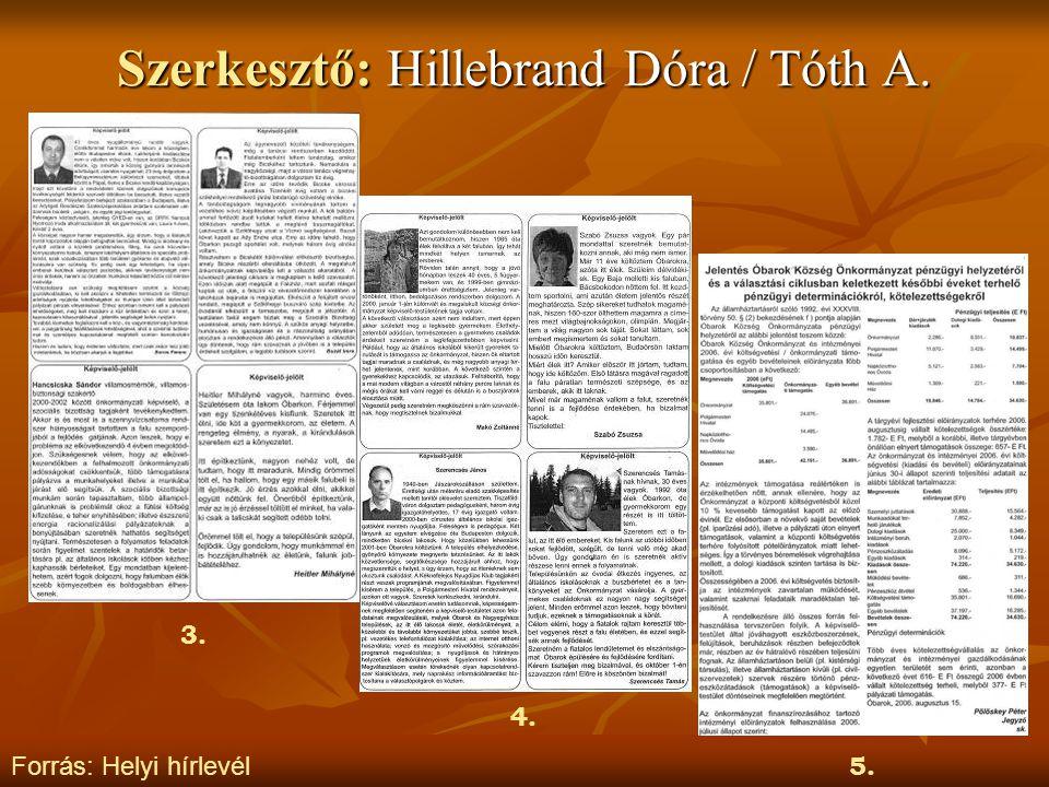 Szerkesztő: Hillebrand Dóra / Tóth A.