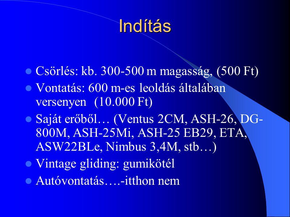 Indítás Csörlés: kb. 300-500 m magasság, (500 Ft)