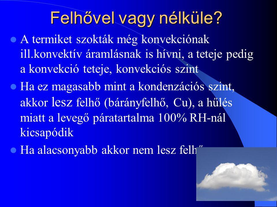 Felhővel vagy nélküle A termiket szokták még konvekciónak ill.konvektív áramlásnak is hívni, a teteje pedig a konvekció teteje, konvekciós szint.