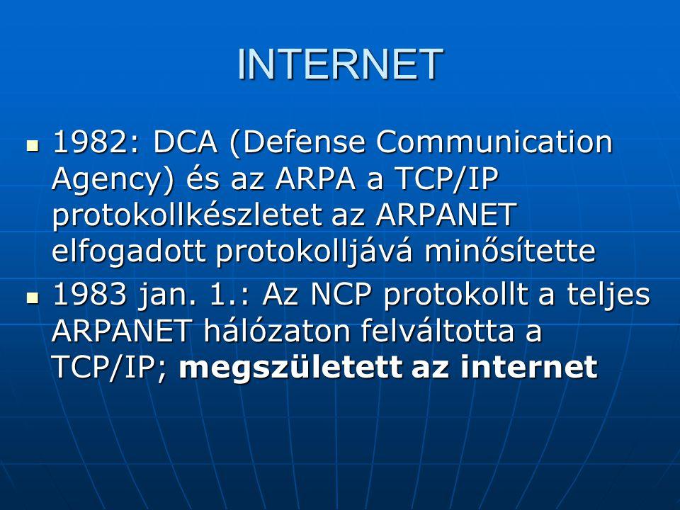 INTERNET 1982: DCA (Defense Communication Agency) és az ARPA a TCP/IP protokollkészletet az ARPANET elfogadott protokolljává minősítette.