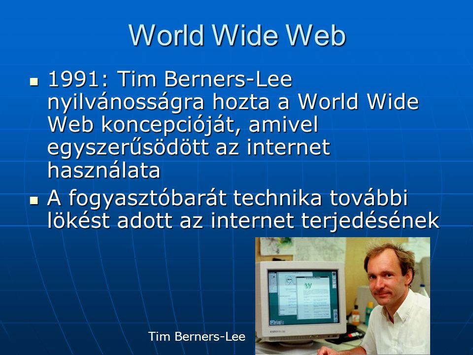 World Wide Web 1991: Tim Berners-Lee nyilvánosságra hozta a World Wide Web koncepcióját, amivel egyszerűsödött az internet használata.