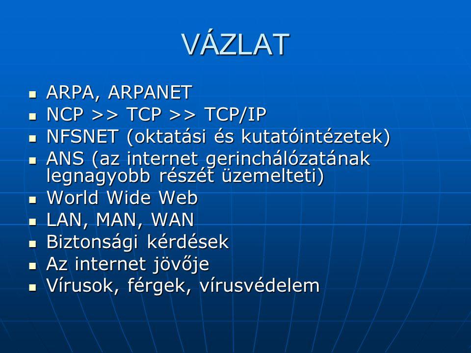 VÁZLAT ARPA, ARPANET NCP >> TCP >> TCP/IP