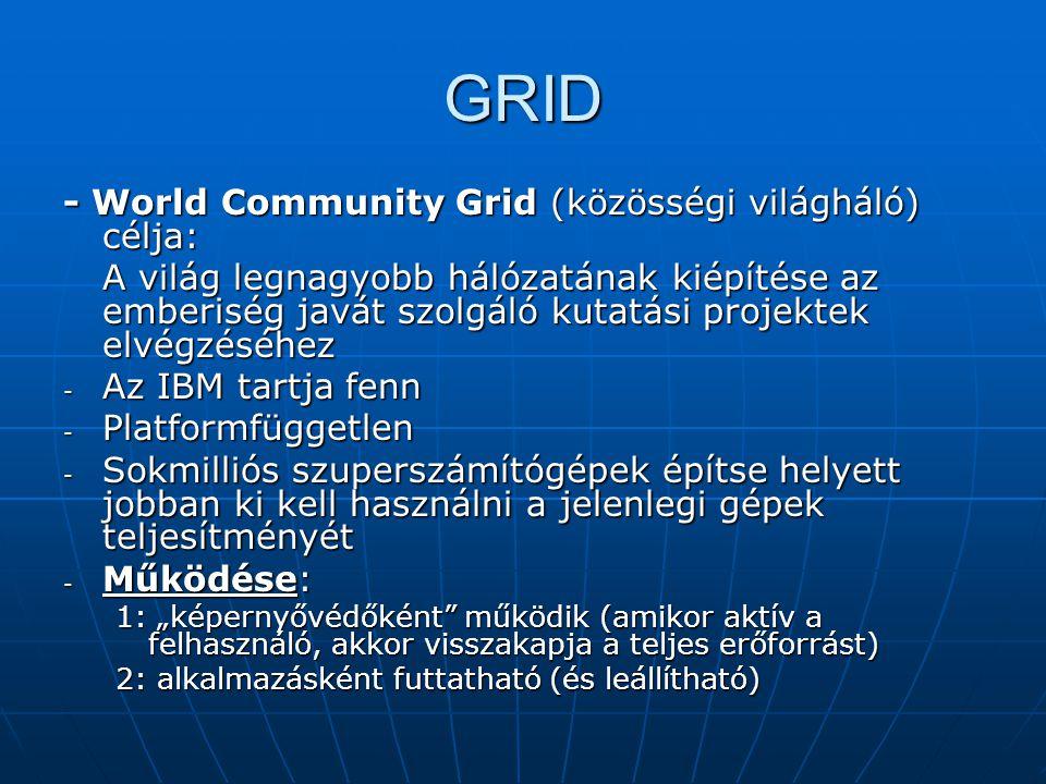 GRID - World Community Grid (közösségi világháló) célja: