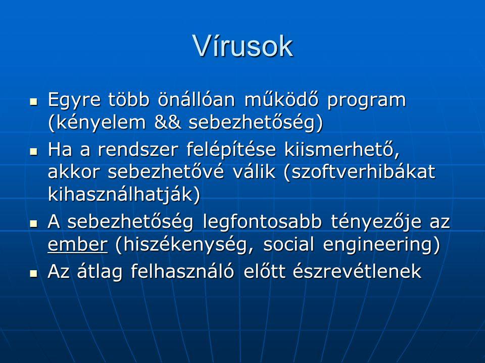 Vírusok Egyre több önállóan működő program (kényelem && sebezhetőség)