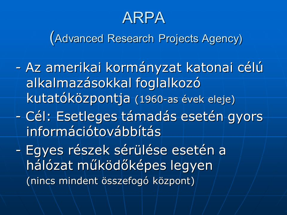 ARPA (Advanced Research Projects Agency)