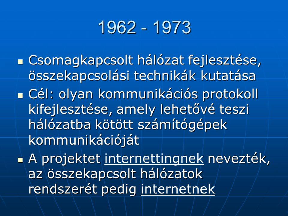 1962 - 1973 Csomagkapcsolt hálózat fejlesztése, összekapcsolási technikák kutatása.