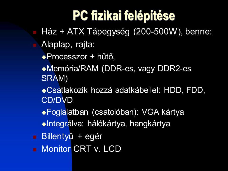 PC fizikai felépítése Ház + ATX Tápegység (200-500W), benne: