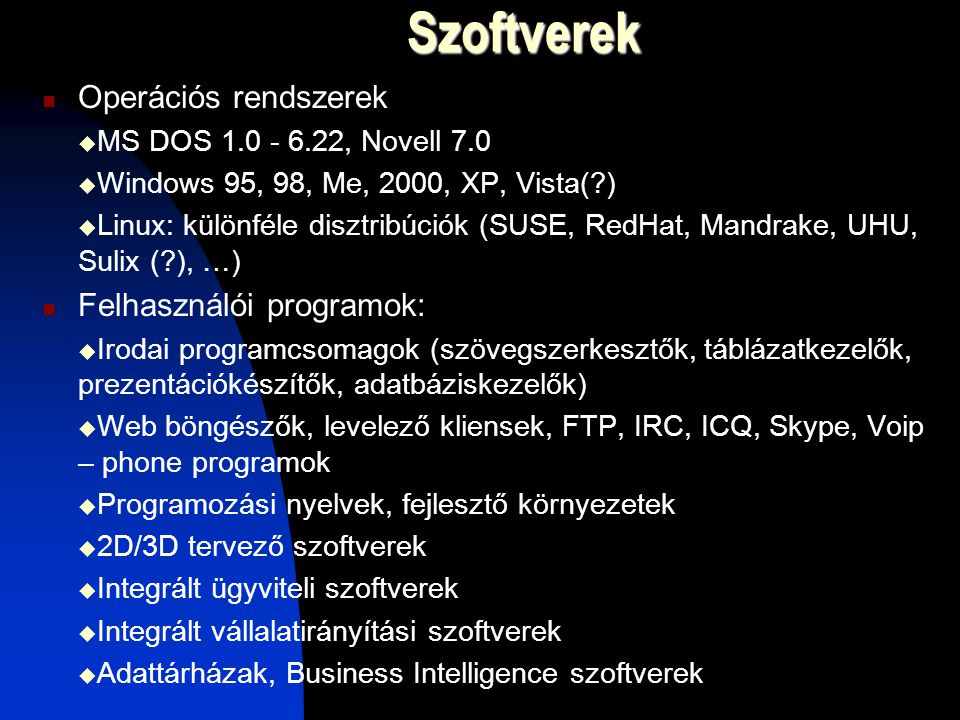 Szoftverek Operációs rendszerek Felhasználói programok: