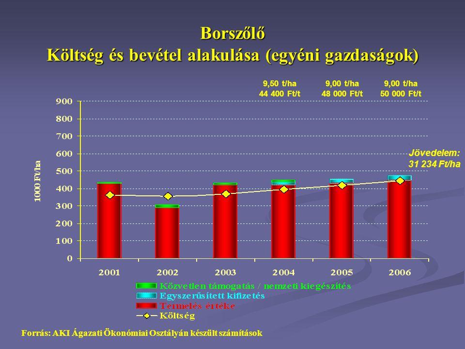 Borszőlő Költség és bevétel alakulása (egyéni gazdaságok)