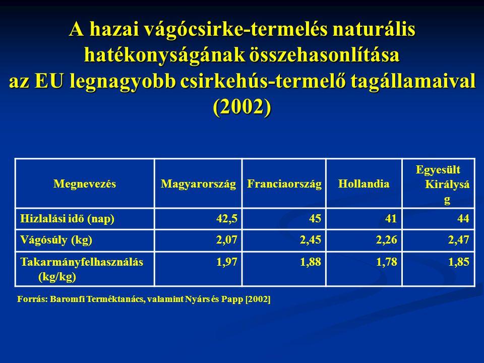 A hazai vágócsirke-termelés naturális hatékonyságának összehasonlítása az EU legnagyobb csirkehús-termelő tagállamaival (2002)
