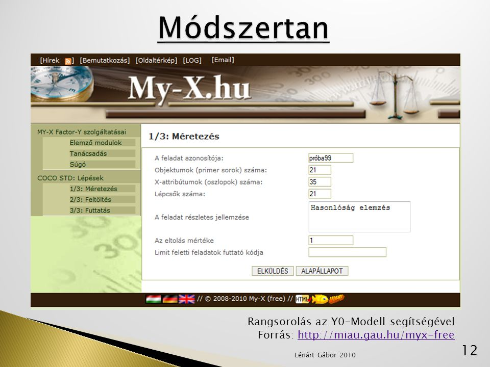 Módszertan Rangsorolás az Y0-Modell segítségével