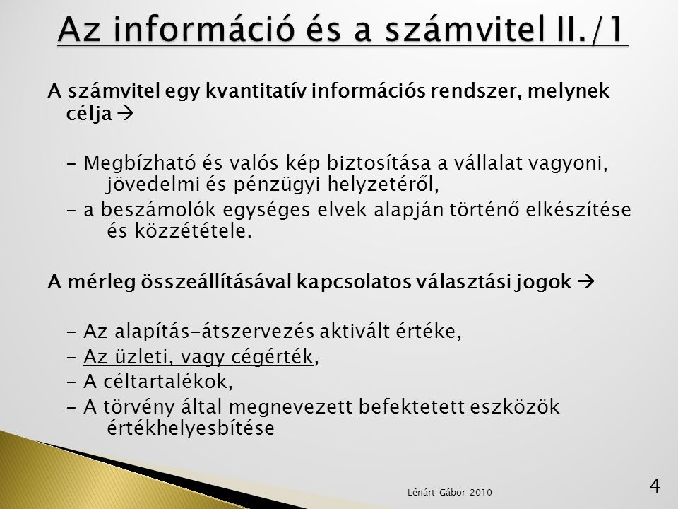 Az információ és a számvitel II./1