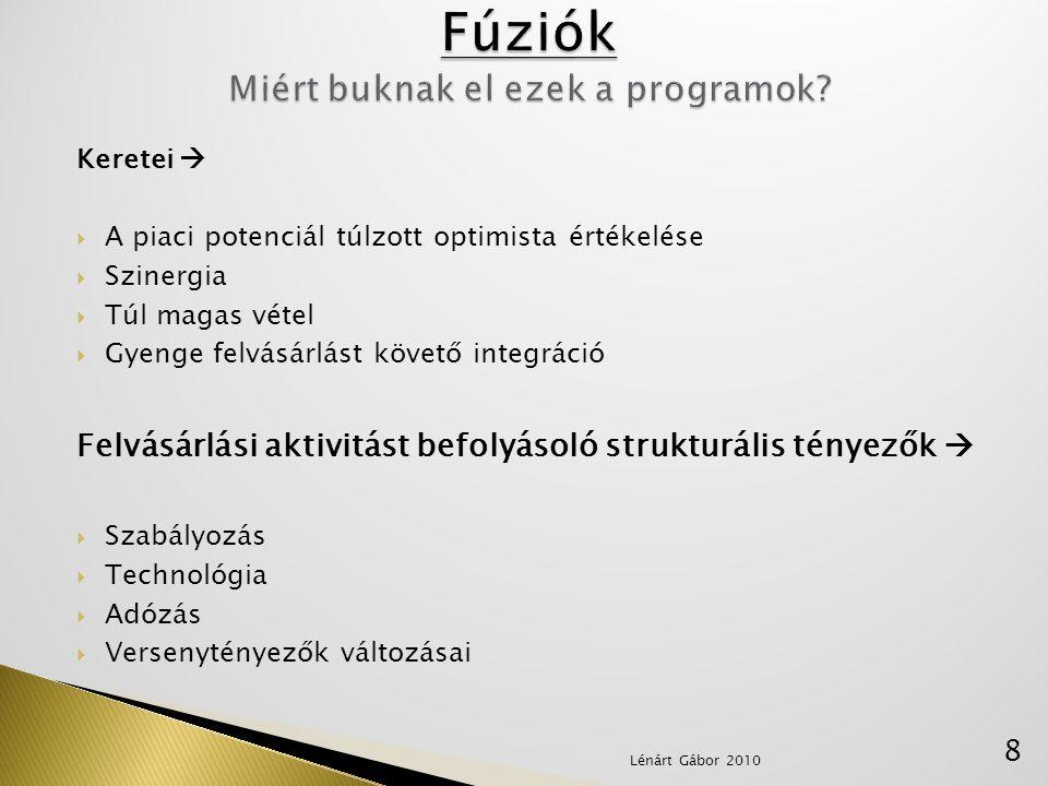 Fúziók Miért buknak el ezek a programok