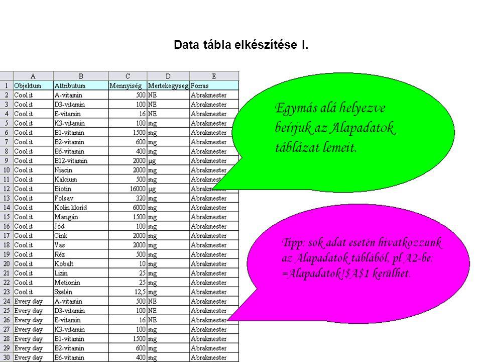 Data tábla elkészítése I.