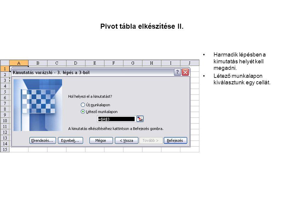 Pivot tábla elkészítése II.