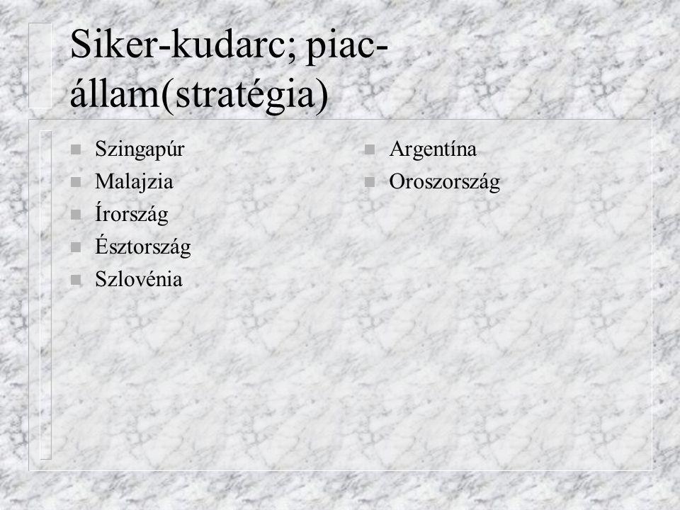 Siker-kudarc; piac-állam(stratégia)