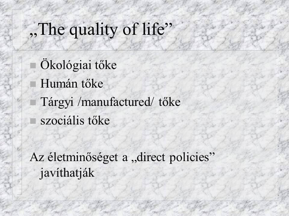 """""""The quality of life Ökológiai tőke Humán tőke"""