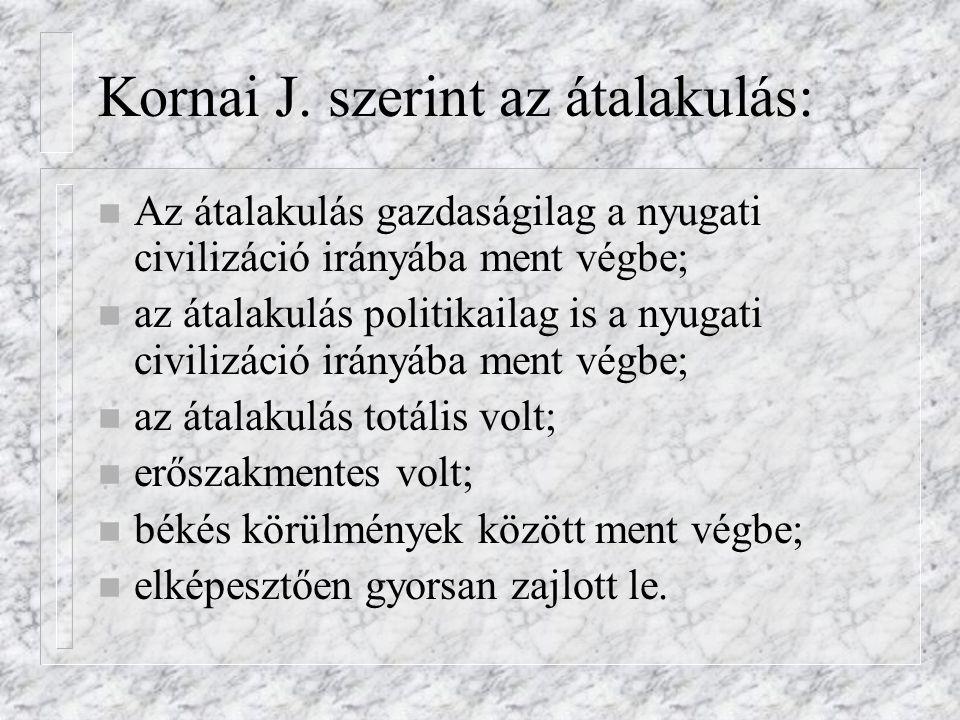 Kornai J. szerint az átalakulás: