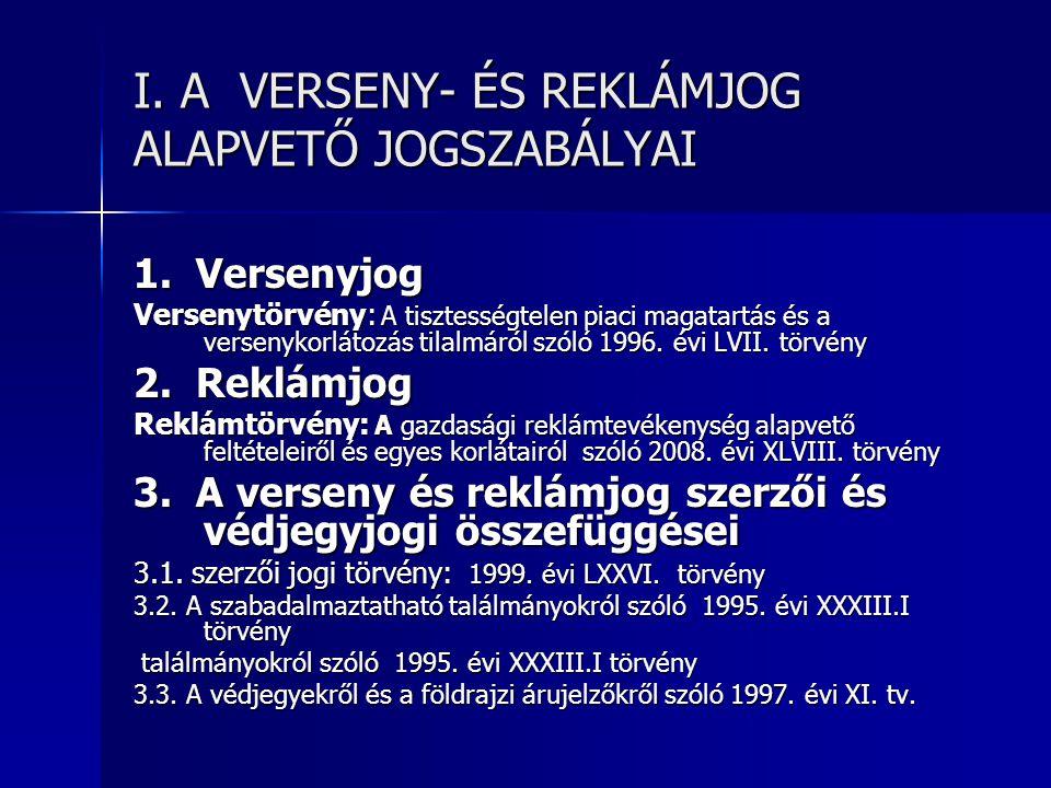 I. A VERSENY- ÉS REKLÁMJOG ALAPVETŐ JOGSZABÁLYAI