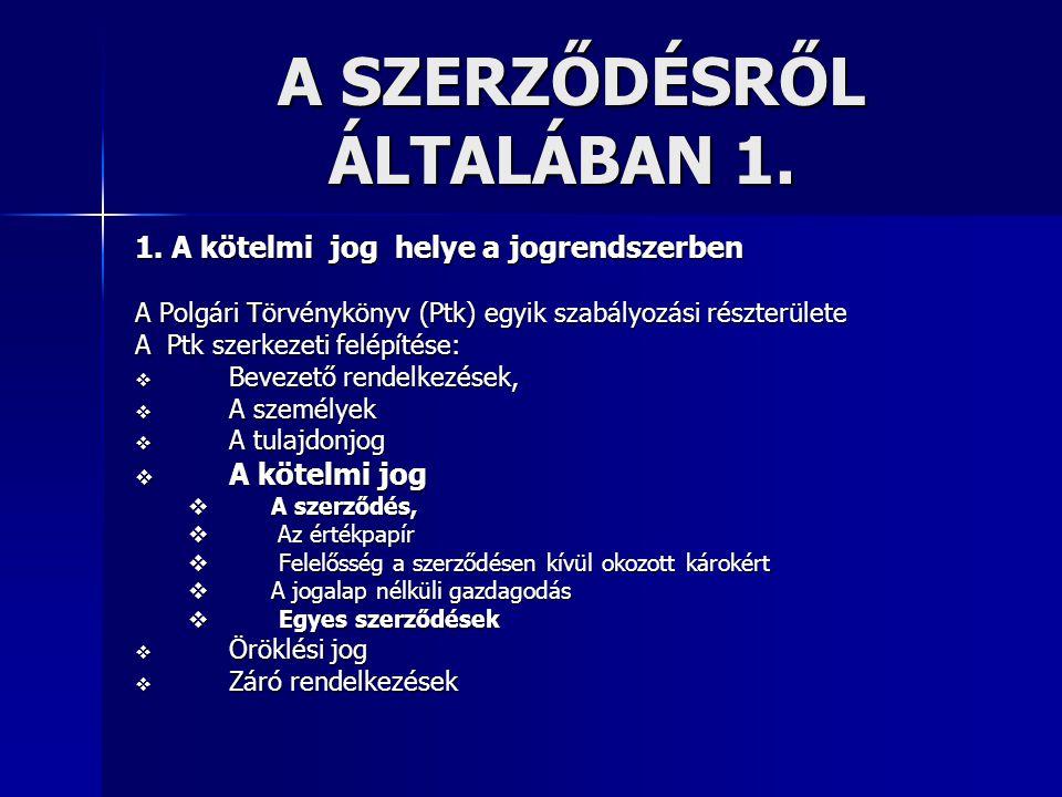 A SZERZŐDÉSRŐL ÁLTALÁBAN 1.