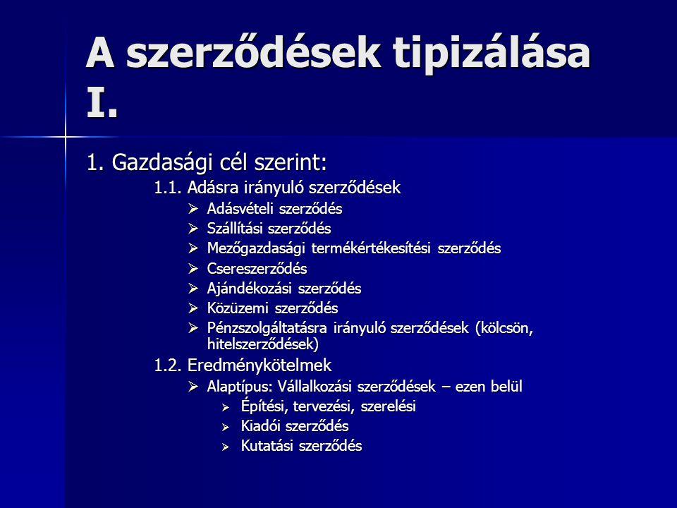 A szerződések tipizálása I.