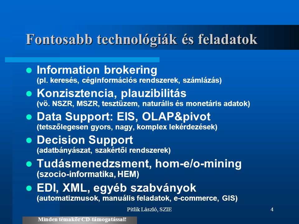Fontosabb technológiák és feladatok