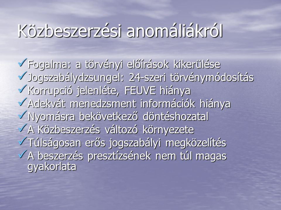 Közbeszerzési anomáliákról