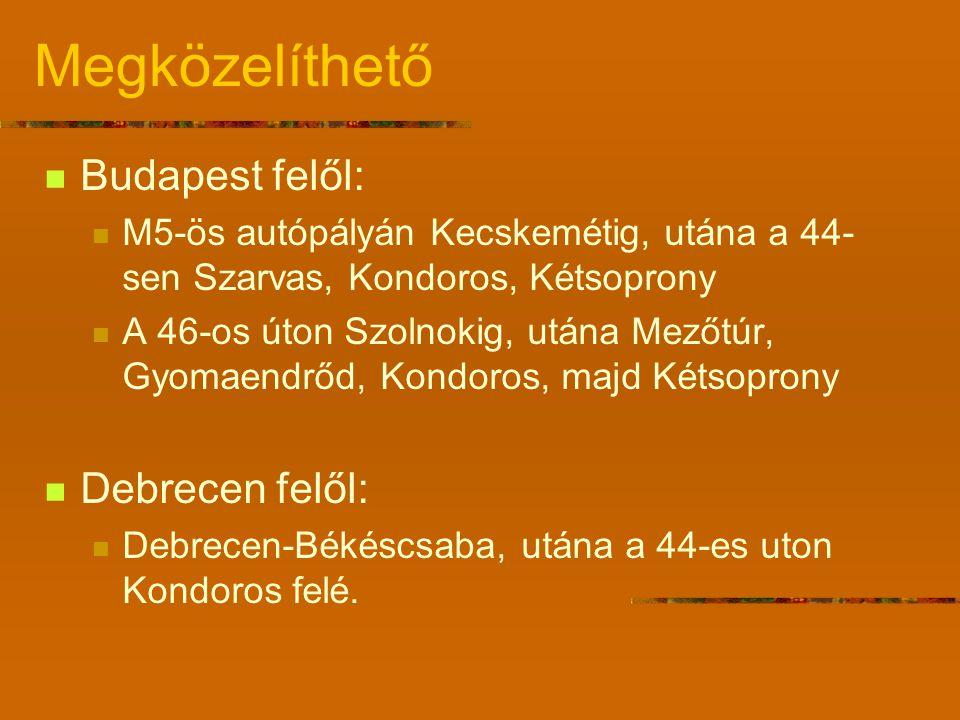 Megközelíthető Budapest felől: Debrecen felől: