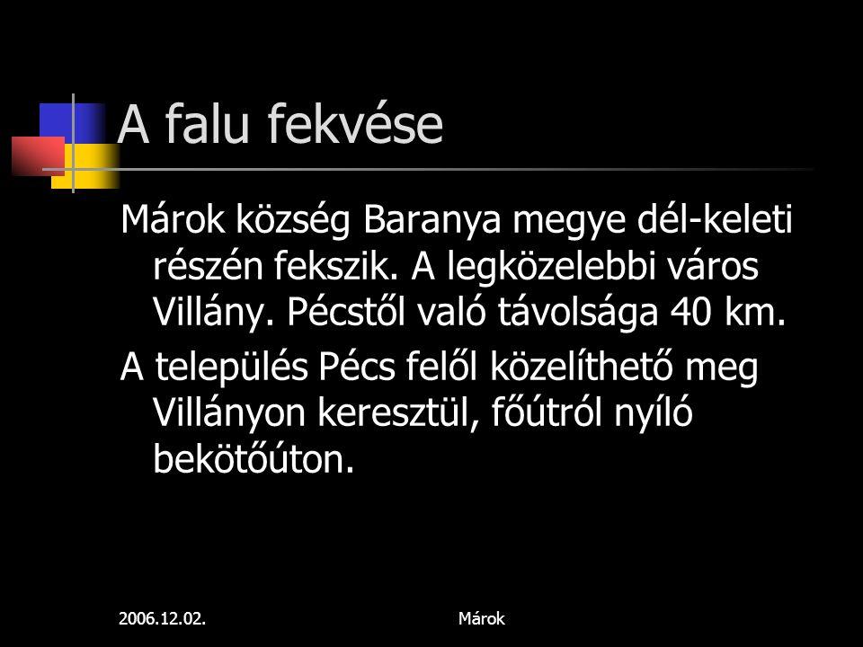 A falu fekvése Márok község Baranya megye dél-keleti részén fekszik. A legközelebbi város Villány. Pécstől való távolsága 40 km.