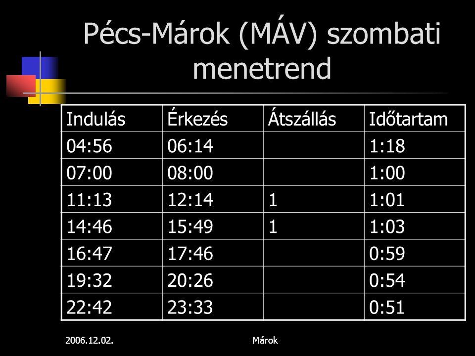 Pécs-Márok (MÁV) szombati menetrend