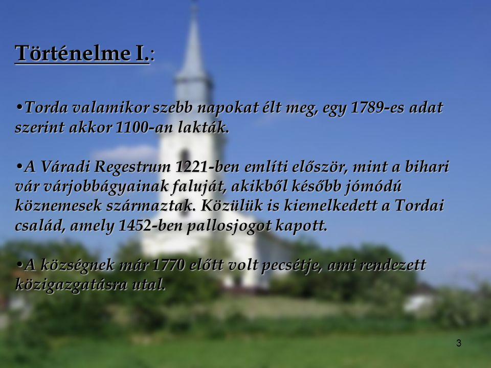 Történelme I.: Torda valamikor szebb napokat élt meg, egy 1789-es adat szerint akkor 1100-an lakták.
