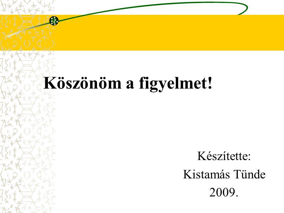 Készítette: Kistamás Tünde 2009.